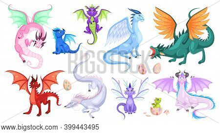 Fairy Dragons. Fantasy Colorful Creatures, Medieval Magic Fairy Tails Animals, Fire-breathing Mythic