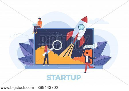 Startup. Rocket Launch Metaphor, People Presentation New Business Project Start Up On Laptop, Develo