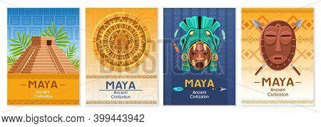 Maya Ancient Culture. Aztec And Inca Civilization Elements, Archaeological Finds, Mexico Architectur