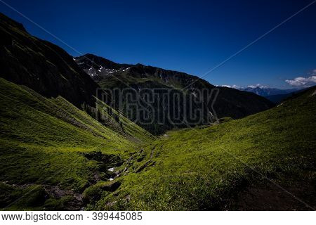 Hiking In Austria With Amazing View. Beautiful Mountings.