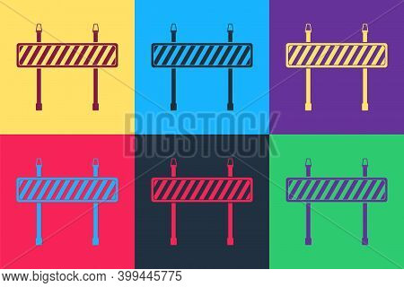 Pop Art Road Barrier Icon Isolated On Color Background. Fence Of Building Or Repair Works. Hurdle Ic