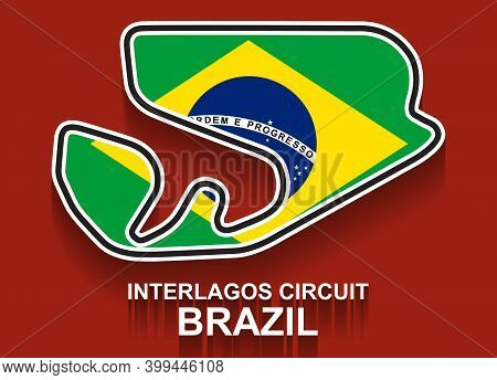 Brazil Grand Prix Race Track For Formula 1 Or F1 With Flag. Detailed Racetrack Or National Circuit