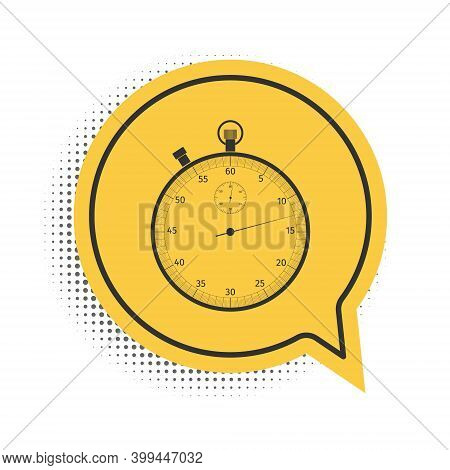 Black Classic Stopwatch Icon Isolated On White Background. Timer Icon. Chronometer Sign. Yellow Spee