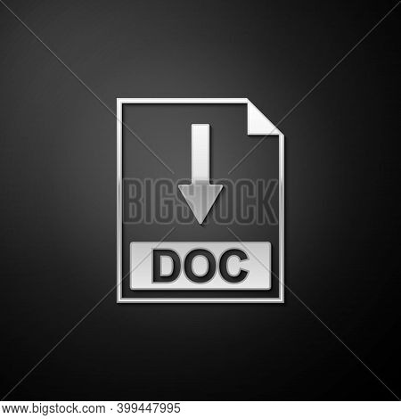 Silver Doc File Document Icon. Download Doc Button Icon Isolated On Black Background. Long Shadow St