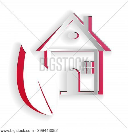 Paper Cut Eco Friendly House Icon Isolated On White Background. Eco House With Leaf. Paper Art Style