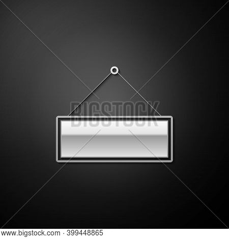 Silver Signboard Hanging Icon Isolated On Black Background. Suitable For Advertisements Bar, Cafe, P