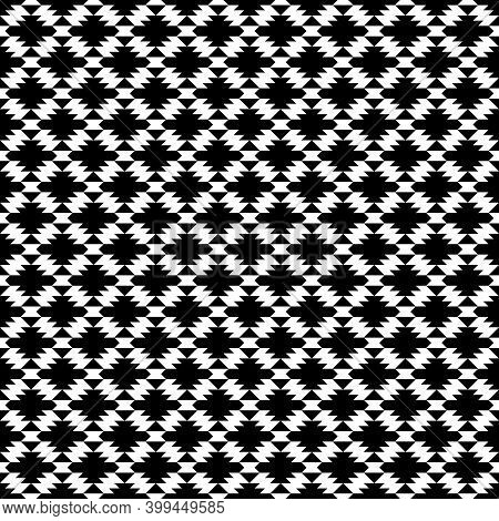 Seamless Pattern. Triangles, Figures Ornament. Triangular Shapes, Polygons Wallpaper. Ethnic Motif.