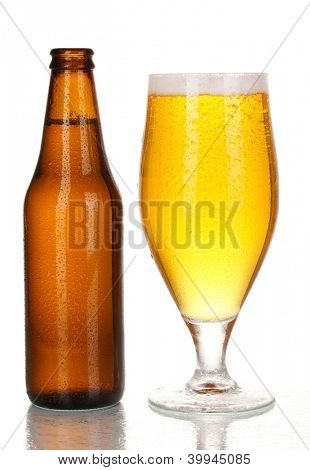 Bottle and glass of beer isolated on white poster
