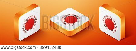 Isometric Dial Knob Level Technology Settings Icon Isolated On Orange Background. Volume Button, Sou