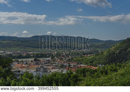 View Over Krems An Der Donau In Summer Sunny Cloudy Hot Day