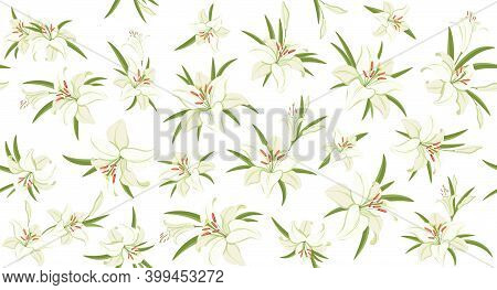 Lilies. Floral Seamless Pattern. White Lilies With Green Foliage. Symbol Of Easter, Spring And Love.