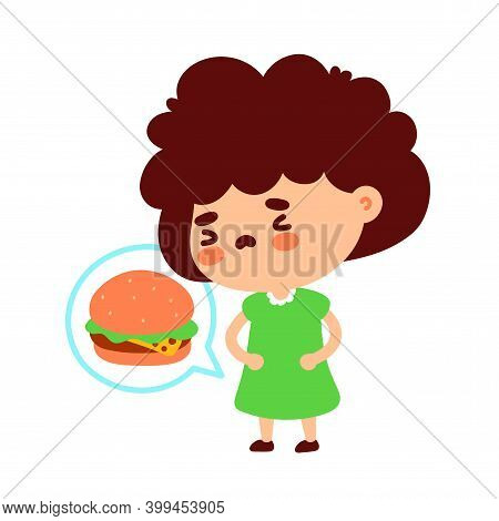 Cute Hungry Young Girl Think About Burger. Isolated On White Background. Vector Cartoon Character Il