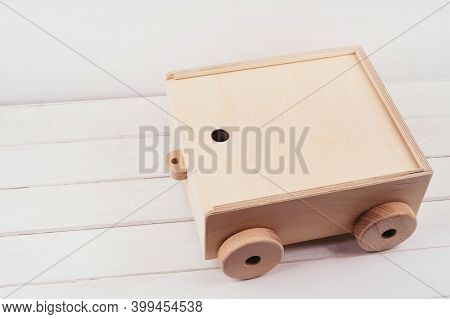 A Box Of Wood To Store Childrens Cubes. Childrens Toys Made Of Natural Material. Wooden Construction