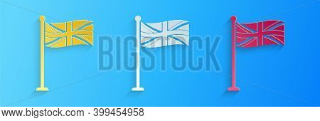 Paper Cut Flag Of Great Britain On Flagpole Icon Isolated On Blue Background. Uk Flag Sign. Official
