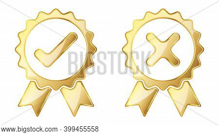 Check And Reject Icon. Gold Vector Illustration. Gold Approved Sign. Reject Symbol