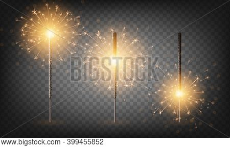 Christmas New Year Bengal Light Set. Realistic Golden Sparkler Lights Isolated On Transparent Backgr