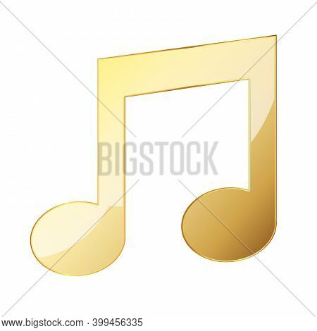 Music Note Icon. Gold Music Note Icon. Vector Illustration. Gold Symbol Of Music Note
