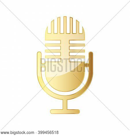 Microphone Icon. Gold Microphone Icon Isolated. Vector Illustration. Gold Symbol Of Microphone