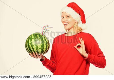 Strengthen Immunity Concept. Girl Wear Santa Hat Drink Watermelon Vitamin Cocktail Straw. Woman Enjo