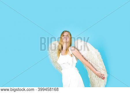 Valentines Angel With White Wings. Valentines Day Cupid. Angel Woman Praying. Cupid Girl In Valentin