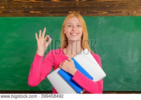 Back To School. Education. Job. People Concept. Educational Theme. Teacher With Pan. Smiling Teacher