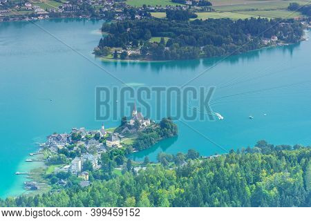The Charming Village Maria Worth On The Lake Worthersee, View From The Pyramidenkogel, The Highest W