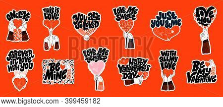Vector Sticker Set For Valentines Day. Romantic Collection For Social Media, Print, T-shirt, Card, P