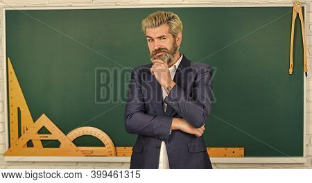 Teachers Enlighten Path Of Success. Man Teacher In Front Of Chalkboard. Important Information To Rem