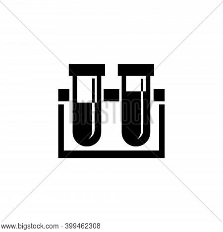 Chemical Test Tube Rack Flasks, Lab Equipment. Flat Vector Icon Illustration. Simple Black Symbol On