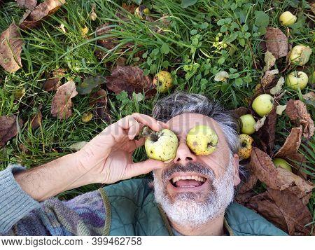 Silly Mature Man, Apple Harvest Abundance Concept