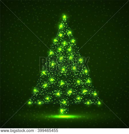 Abstract Christmas Tree Of Glowing Particles, Holiday