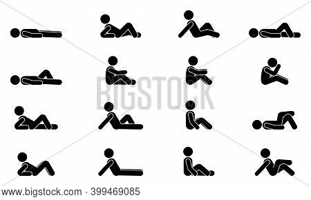 Stick Figure Male Lie Down Various Positions Vector Illustration Icon Set. Man Person Sleeping, Layi