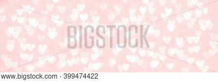 Abstract Red Pink Heart Glitter Light Bokeh Holiday And Festive Party Background. Love Sentiment And