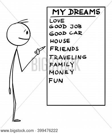 Vector Cartoon Stick Figure Illustration Of Man Holding Marker Or Pen And Writing List Of His Life D