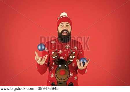 My Best Tips. Resourceful And Funny Event Manager Juggler. Happy Man Juggle Christmas Tree Decorativ
