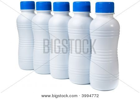 Set Of Five Plastic Bottles For Bio Products