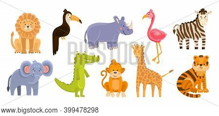 Hand Drawn Vector Illustration Of Cute Funny Animals. Wild Animals Isolated Objects. Flat Design In