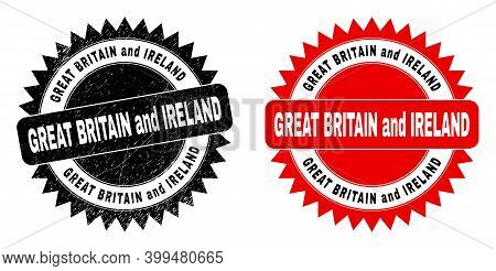 Black Rosette Great Britain And Ireland Stamp. Flat Vector Grunge Seal Stamp With Great Britain And