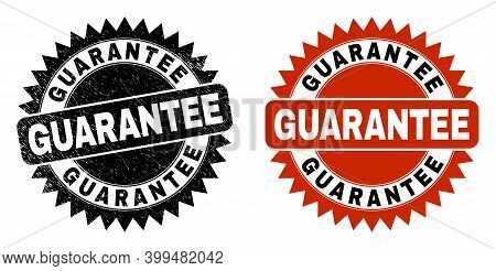 Black Rosette Guarantee Watermark. Flat Vector Distress Seal Stamp With Guarantee Text Inside Sharp