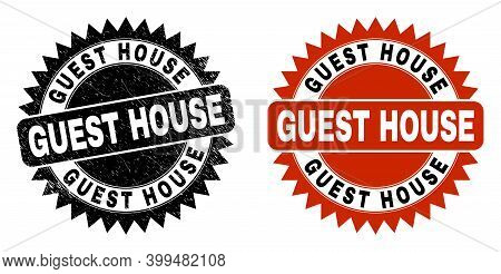 Black Rosette Guest House Stamp. Flat Vector Distress Watermark With Guest House Message Inside Shar