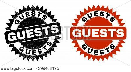 Black Rosette Guests Watermark. Flat Vector Distress Watermark With Guests Caption Inside Sharp Star