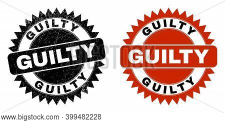 Black Rosette Guilty Seal. Flat Vector Textured Seal With Guilty Caption Inside Sharp Rosette, And O