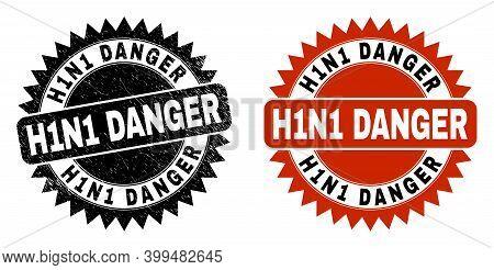 Black Rosette H1n1 Danger Seal. Flat Vector Distress Seal With H1n1 Danger Text Inside Sharp Rosette