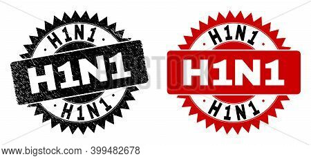 Black Rosette H1n1 Watermark. Flat Vector Scratched Seal With H1n1 Message Inside Sharp Rosette, And