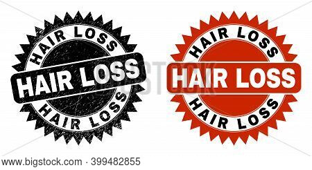 Black Rosette Hair Loss Seal. Flat Vector Scratched Seal With Hair Loss Phrase Inside Sharp Rosette,