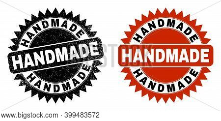 Black Rosette Handmade Watermark. Flat Vector Scratched Seal With Handmade Phrase Inside Sharp Roset