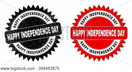 Black Rosette Happy Independence Day Seal. Flat Vector Scratched Seal With Happy Independence Day Te