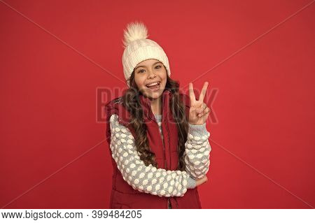 Good Mood. Emotional Wellbeing. Emotions Concept. Girl Enjoy Winter. Good Vibes. Cheerful Child In C