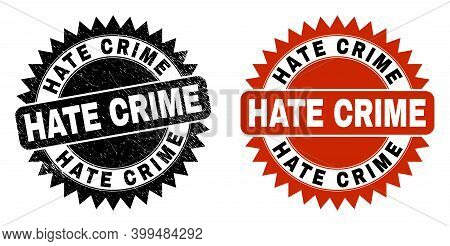 Black Rosette Hate Crime Seal. Flat Vector Distress Seal Stamp With Hate Crime Phrase Inside Sharp R