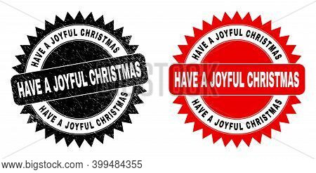 Black Rosette Have A Joyful Christmas Seal Stamp. Flat Vector Grunge Seal Stamp With Have A Joyful C